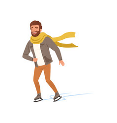 cheerful young man in warm clothes and scarf ice vector image
