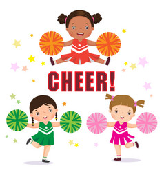 Cheerleader with pom poms vector