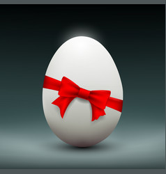 chicken easter egg with red ribbon vector image