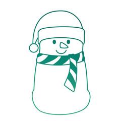 christmas snowman kawaii character vector image