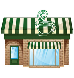 coffee shop with green roof vector image