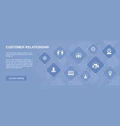 Customer relationship banner 10 icons concept vector