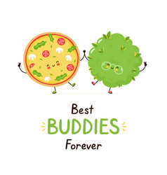 Cute happy smiling pizza and weed bud friends vector