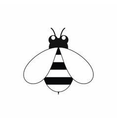 Cute little bee icon black simple style vector