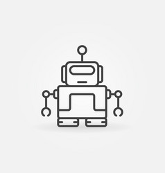 Cute robot with antenna icon in thin line vector