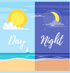 Day and night summer beach vector
