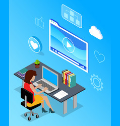digital marketing specialist with computer vector image