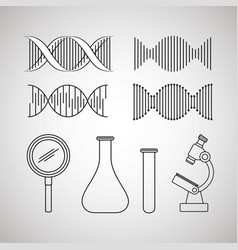 dna molecule structure set icons vector image