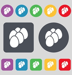 Eggs icon sign a set of 12 colored buttons flat vector