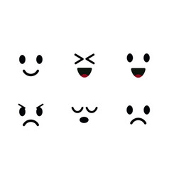 emoji icon set characters faces cute emoticon vector image