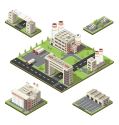Factory Territory Isometric Composition vector image