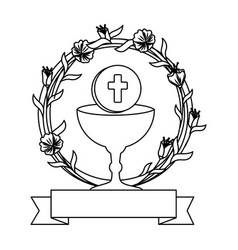 First communion in chalice with floral crown vector