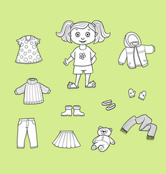 Flat cartoon girl wardrobe objects set vector