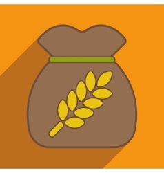 Flat with shadow icon and mobile application bag vector