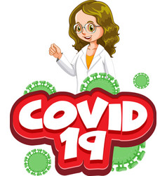 Font design for word covid 19 with happy doctor vector