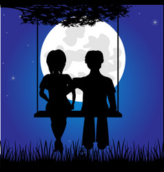 girl and lad sit on seesaw vector image