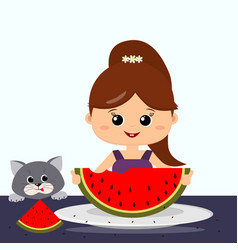 girl gray cat and watermelon vector image