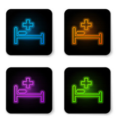 glowing neon hospital bed with medical symbol vector image