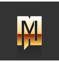 Gold Letter M Shape Logo Element vector image