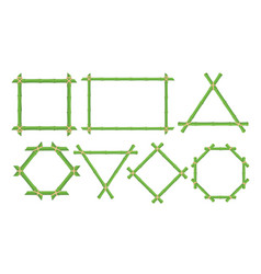 Green bamboo frames flat set vector