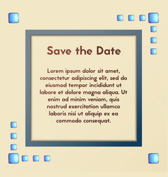 Greeting card with blue stones save the date vector