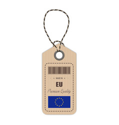 hang tag made in european union with flag icon vector image vector image