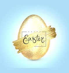 Happy easter lettering with gold glitter brush vector