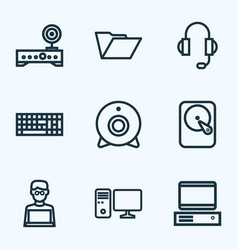hardware outline icons set collection of hard vector image