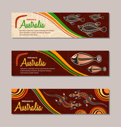 Horizontal banner templates in australian vector