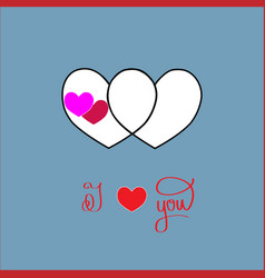 i love you card two heart and lettering romantic vector image