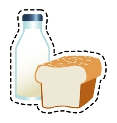 Isolated milk bottle and bread design vector