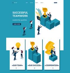 Isometric leadership qalities landing page vector