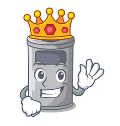 King cartoon steel trash can in the office vector