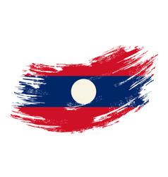 laotian flag grunge brush background vector image