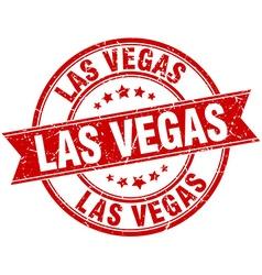 Las Vegas red round grunge vintage ribbon stamp vector