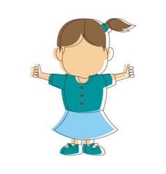 Little girl kid character standing people vector
