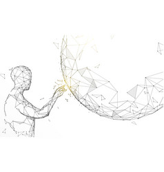 man touching global from lines and particle vector image