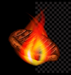 meat steak with flames barbecue dark background vector image