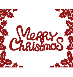 Merry christmas red text vector