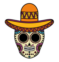 mexican skull death mask with mariachi hat vector image