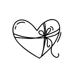 monoline cute heart with rope and bow vector image