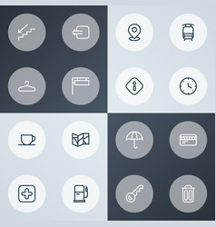 navigation icons line style set with sign tea cup vector image