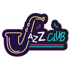 neon jazz club saxophone background image vector image