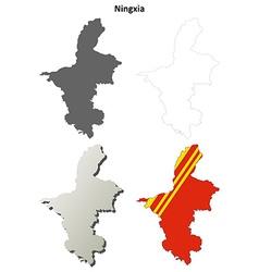 Ningxia hui blank outline map set vector