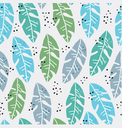 palm leaves flat handdrawn seamless pattern vector image