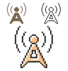 pixel icon radio repeater in three variants vector image