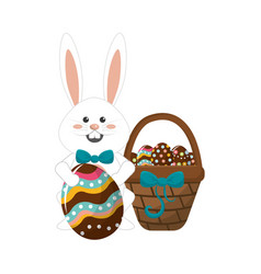 Rabbit easter with eggs inside of hamper vector