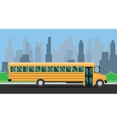 School bus with yellow color and city background vector