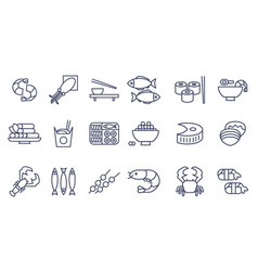 Seafood line icons set japanese cuisine fish vector