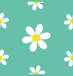 seamless pattern daisy white chamomile icon cute vector image